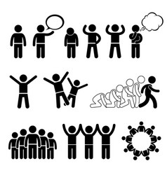 children action pose welfare rights stick figure vector image