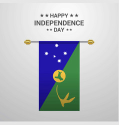 Christmas island independence day hanging flag vector