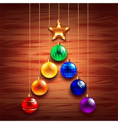christmas tree from balls on wooden background vector image