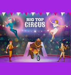 circus acrobats juggler and animals on arena vector image