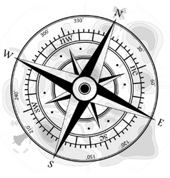 Compass with map vector