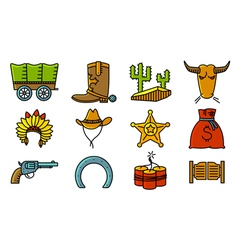 cowboy and western icons set vector image