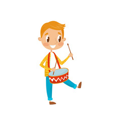 cute boy playing drum little musician character vector image