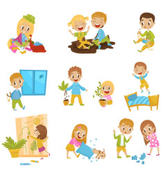 cute little bully kids set hoodlum cheerful vector image