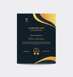 Dark blue and gold waves vertical certificate vector