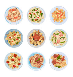 Different pasta served on plate top view vector