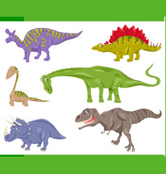 Dinosaurs species set cartoon vector