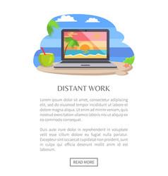 Distant work poster open notebook tropical sunset vector