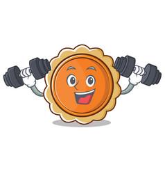 Fitness pumpkin pie character cartoon vector