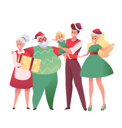 flat family with present boxes at christmas vector image