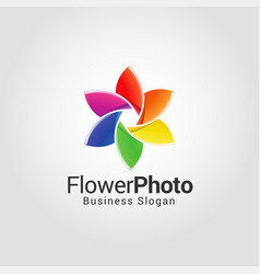 Flower photography studio logo template vector