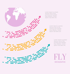 fly infographics of three steps large dotted vector image