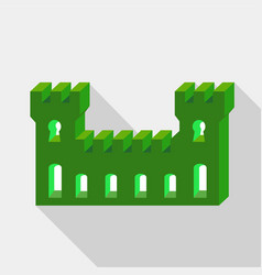 green ancient fortress icon flat style vector image