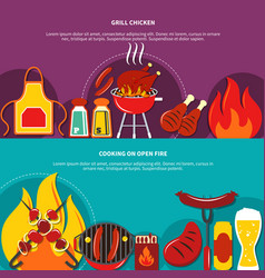 Grill chiken and cooking on open fire flat vector