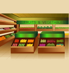 grocery store fruits and vegetables section vector image