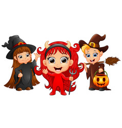 halloween costumes kids with girl evil and witch g vector image