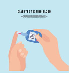 Hand holding diabetic blood tester or glucose vector
