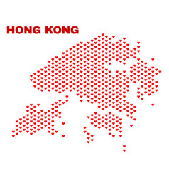 hong kong map - mosaic of valentine hearts vector image