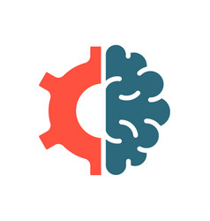 human brain with gear wheel colored icon vector image