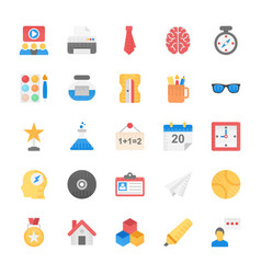 Icons set of education school students and study vector