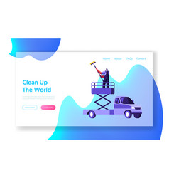 industrial cleaning company team equipment vector image