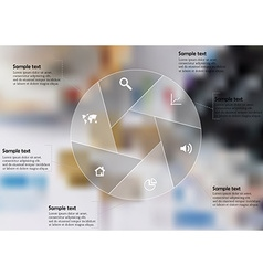 Infographic template with circle divided to six vector