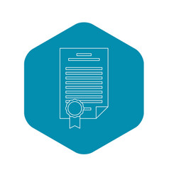 Insurance document icon outline style vector