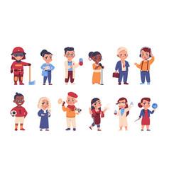 kids in uniform cartoon cheerful children in vector image