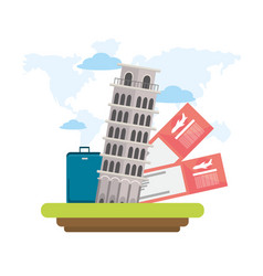 leaning tower of pisa with tickets and baggage vector image