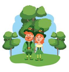 Leprechaun couple with trees vector