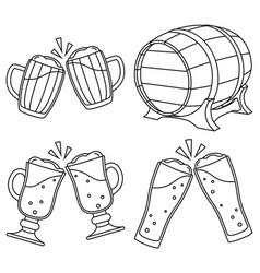 line art black and white draft beer set vector image