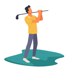 male character playing golf outdoors professional vector image