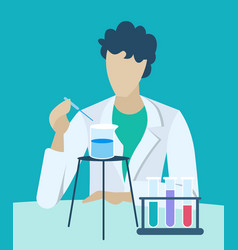 Man analyzing substance properties chemistry vector