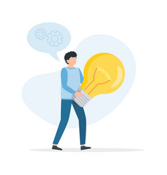 man hold big light bulb big idea concept with man vector image