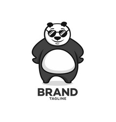 modern character panda with glasses logo vector image