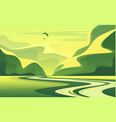 Mountain landscape with peaceful river valley in vector