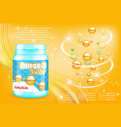omega-3 fatty acids advertising poster vector image