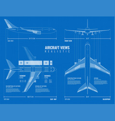 outline airplane views blueprint vector image