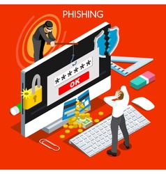 Phishing Concept Isometric People vector image