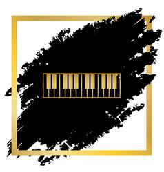 Piano keyboard sign golden icon at black vector
