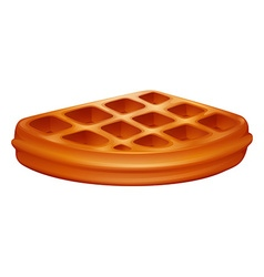 Piece of waffle on white vector image