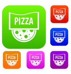 pizza badge or signboard set color collection vector image