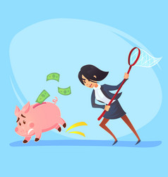 poor bankrupt businesswoman office worker vector image