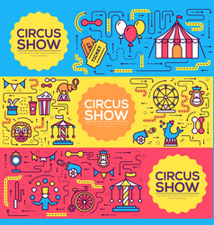 premium quality circus outline icons infographic vector image