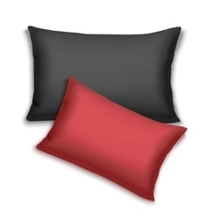 Realistic black and red pillows vector