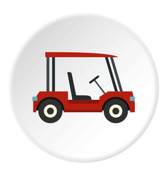 Red golf cart icon circle vector