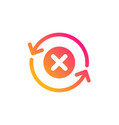 Reject refresh icon decline update sign vector