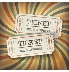 Retro tickets on sunburst vector