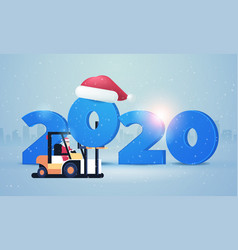 santa claus on forklift loading 2020 happy new vector image