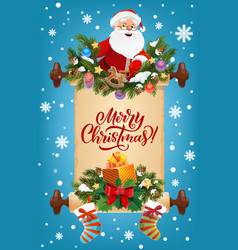 santa with christmas gifts garland and old scroll vector image